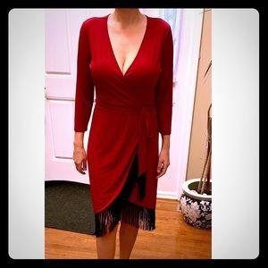 SPENSE 3/4 Sleeve Wrap Dress with Fringed Hem Ruby